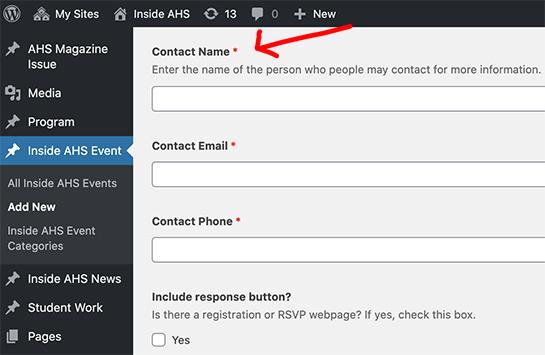 screenshot of Inside AHS Contact name backend