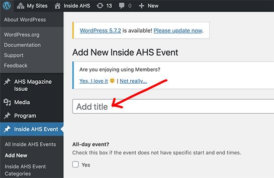 screenshot of Inside AHS add title space