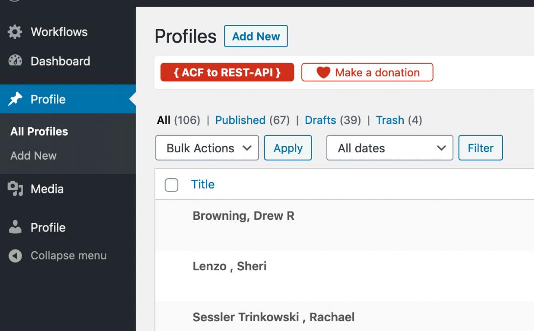 screenshot of profile selection
