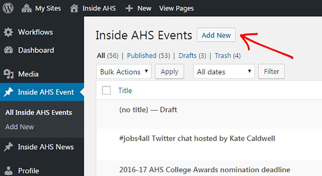 AHS screenshot of Inside AHS Events