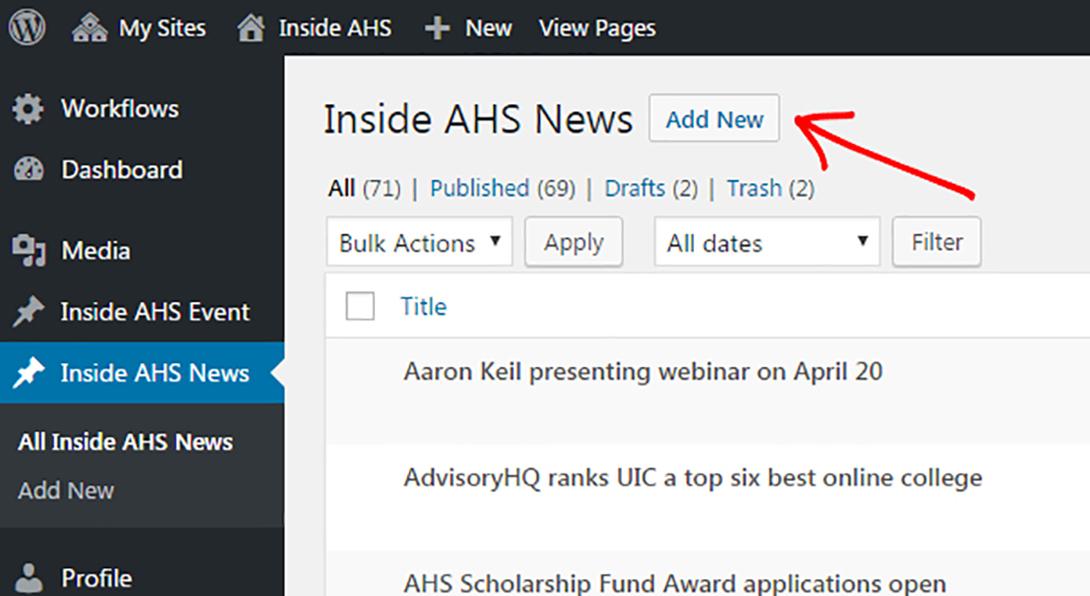 Backend of Inside AHS screenshot- add new